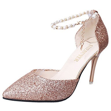 Zormey Frauen Heels Frühling Herbst Komfort Lackleder And Walking Stiletto Heel Pailletten Silber Schwarz Gold US6.5-7 / EU37 / UK4.5-5 / CN37