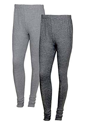 IndiWeaves Women Warm Wollen Lycra Legging (Pack of 2)_Grey::Grey_Size-M