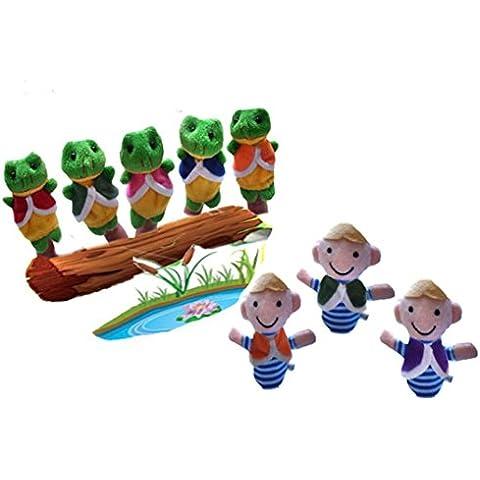 FAMILIZO 8pcs El muchacho y ranas Cuentacuentos buenos juguetes marioneta de mano para el regalo del bebé