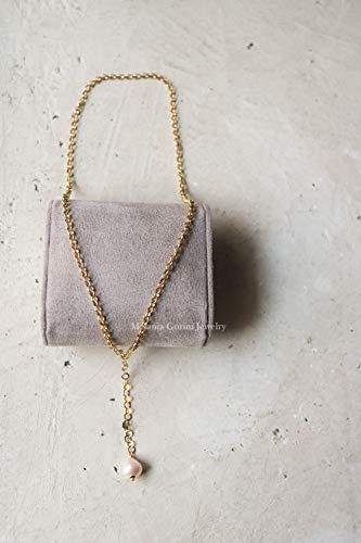 Collana jolly in argento 925 placcato oro e ciondolo con perla barocca bianca e naturale - molti modi per indossarla - made in toscana