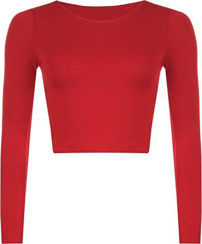 WearAll - Neu Damen Cropped Langarm T Shirt Kurz Schmucklos Rundhalsausschnitt Top - Rot - 36 / 38 -