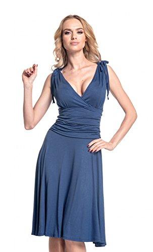 Glamour Empire. Femme. Robe patineuse sans manches décolleté cache-coeur. 142 Bleu Gris