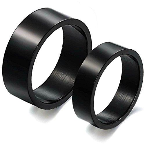 Gnzoe Schmuck, Edelstahl Hochzeit Ringe Schwarz Wide 8MM Ring Breit 8MM Gr.58(18.5) Für Herren