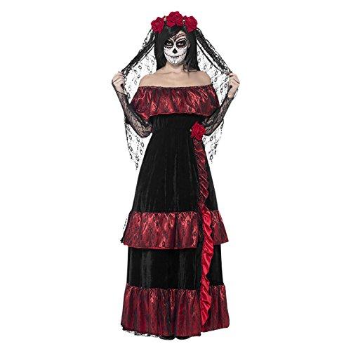 Gothic Brautkleid Sugar Skull Kostüm M 40/42 Dia de los Muertos Braut Tag der Toten Outfit Calavera Verkleidung Halloween La Catrina (Kostüm Calavera La Catrina)