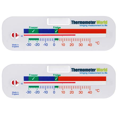 Twin Pack Freezer and Fridge Thermometer - Refrigerator Chiller Cooler Temperature gauge Two Year Warranty Utensil Gadget