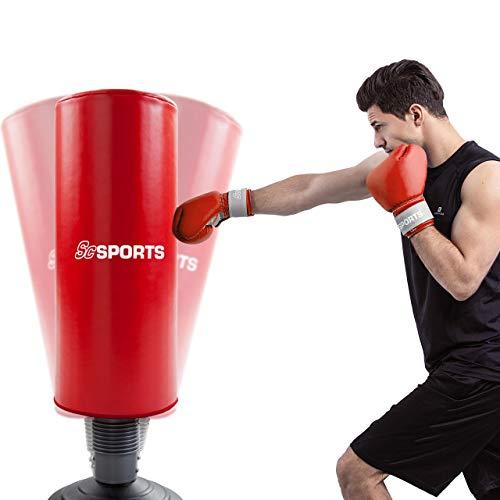 ScSPORTS Standboxsack, Boxsack stehend, Boxdummy für Boxtraining und Kickboxen, höhenverstellbar 160-185 cm, schwarz rot
