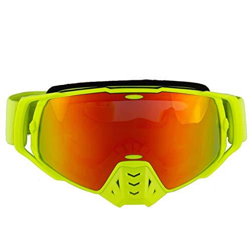 FXXUK Motorrad-Reitbrille Erwachsene Motocross Racing Aviator Goggles Anticrash Lenses Ski Radfahren UV-Schutz,Orange