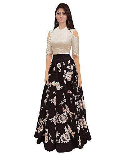 Yeoja Creation Women's Bangalory Silk Semi-Stitched Lehenga Choli (Black, Free Size)