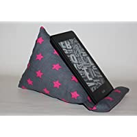 Lesekissen | Lesestütze | Sitzsack | passend für alle E-Book-Reader | grau pinke Sterne