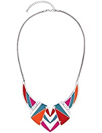Front Row Geometric Multi Colour Statement Necklace of Length 51-59cm
