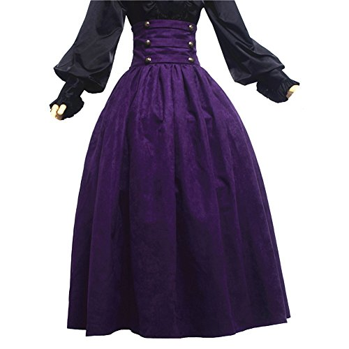 Lolita Rock (BLESSUME Gothic Lolita Steampunk High Taille Walking Rock Blau Violett)