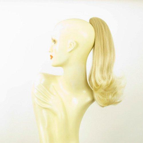 Postiche queue de cheval extension femme mi-longue 40 cm blond doré méché blond très clair ref 8 en 24bt613
