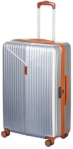 Pure - Hartschalen-Koffer Karla | Trolley mit 4 Rollen und TSA-Schloss in Größe M | Reisekoffer mit 61 Litern Volumen | Silber