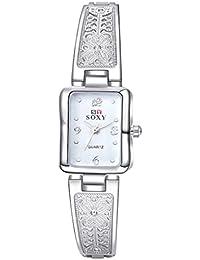 lekima pulsera reloj rectangular Dial cuarzo analógico reloj de pulsera, superficie de color blanco diseño de mariposas cumpleaños regalo para niñas Lady mujeres–negro oro blanco