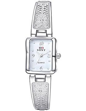 lekima Armband Armreif Armbanduhr rechteckig Zifferblatt Analog Quarz Weiß Oberfläche Schmetterling Muster Armbanduhr...