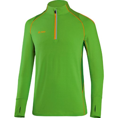 Jako Power, Maglia da corsa da Uomo, con cerniera 1/4 verde - Racing Green/Neon Orange