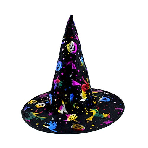 BESTOYARD Unisex Halloween Kostüm Kürbis Printed Hexenhut Dress Up Cap Heißprägen Hüte Make-up Requisiten für Festival Maskerade Party
