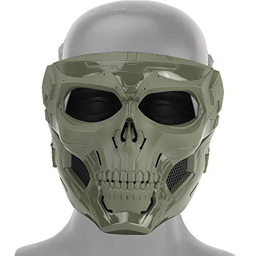 MOGOI Airsoft Schädel Gesichtsmaske, Vollgesichtsschutzmasken Für Airsoft Paintball Outdoor Cs Krieg Spiel BB Gun Halloween Party Cosplay Maske Filmrequisiten Skeleton Masken