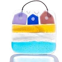 Contenitore quadrato in vetro fuso, diffusore di luce, colori della spiaggia, fatto a mano