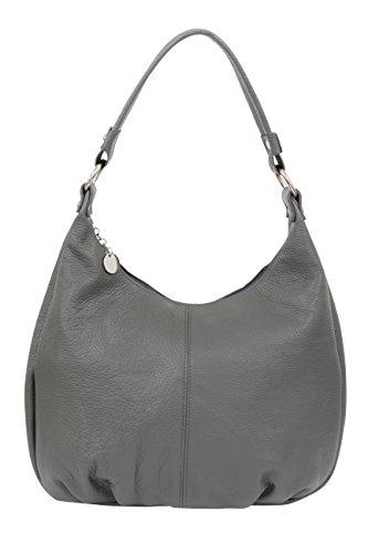 AMBRA Moda,Damen Handtasche, Echtes Leder,Beutel,Schultertasche,Hobo Bags,Shopper, DIN-A4 GL001 (Anthrazit)