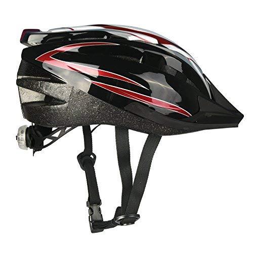 KOOPAN Fahrradhelm Erwachsener Fahrrad Sturzhelm Reithelm Mountainbike Helm mit LED Lampe Lila Blau und Rot Farbe, M (54-58cm) Y-20 (Rot Schwarz)