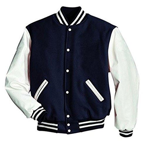 Preisvergleich Produktbild Original Windhound College Jacke navy blau mit weißen Echtleder Ärmel S