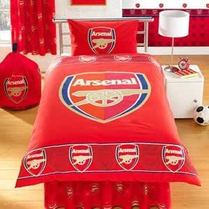 ensemble de literie au style arsenal football comprenant housse de couette lit double et taies. Black Bedroom Furniture Sets. Home Design Ideas