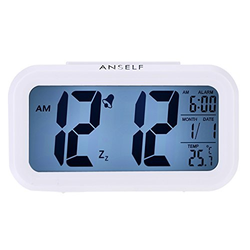 Anself LED Digital Alarma despertador Reloj Repeticion activada por luz Snooze Sensor...
