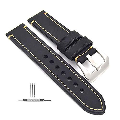 omyzam Herren Leder Ersatz Uhr Armband mit Mode Sport und Freizeit Zubehör Dornschließe aus Edelstahl Schwarz 24mm