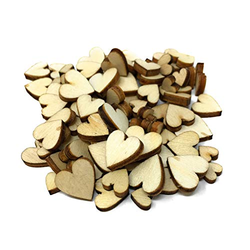 [Heart Shaped] Wooden Embellishments - Mixed Mini Scrapbooking Shapes for Craft
