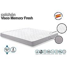 SUENOSZZZ - Colchón Viscoelástico Memory Fresh. 80x180x15+1 Cms. Strech ...