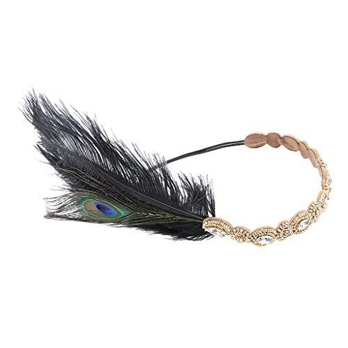 Baoblaze 1920er Jahre Flappers Haarband Stirnband Feder Haarschmuck Gatsby Kopfbedeckung Kostüm Zubehör - Blau