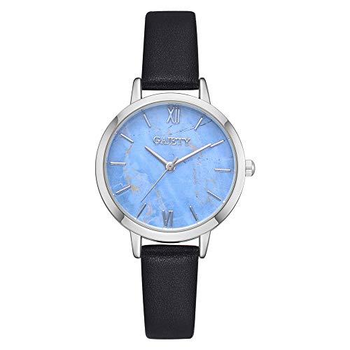 Deloito Damen Mode Schnalle Schließe Legierung Fall Uhren Lederband Analoger Quarz Runden Uhr Einfach Armbanduhr (Schwarz)
