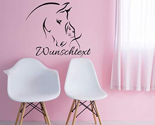 *NEU* Wandaufkleber Wandtattoo Wandsticker fürs Kinderzimmer/Tür u.a. ***Pferd & Mädchen mit Ihrem Wunschtext*** (Größen.- und Farbauswahl) - Zitate Pferd Wandtattoos