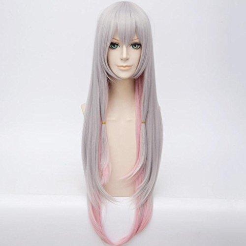 Cosplay Grau Gradient Rosa PerüCke Hochtemperaturseide Langes, Glattes Haar PerüCke Setzt (Nicht Mainstream Halloween Kostüme)