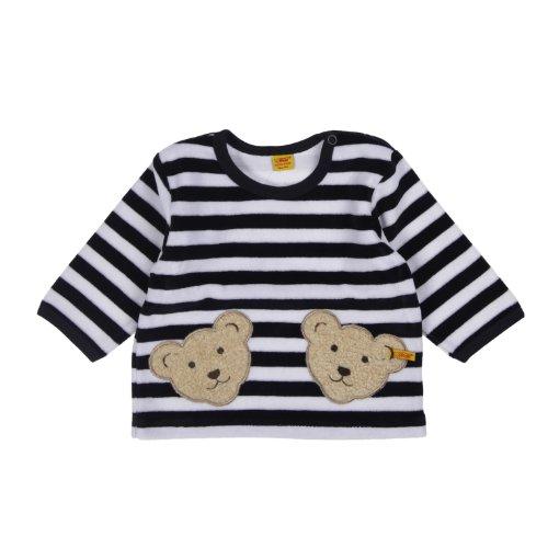 Steiff Unisex - Baby Sweatshirt, gestreift Doppelbären Shirt 0002891, Gr. 56, Blau (marine 3032)