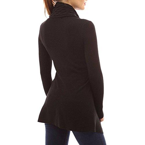Femmes Tricoter Cardigan Chandail Haut - Dames Ouvrir De face Manteau Longue Manche Outwear Chaud Sauteur Coat Sweater Highdas Noir