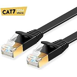 ULTRICS Cable Ethernet 20 M (2 Paquets), Haute Vitesse 10Gbps STP 600MHz Plat Cable Patch, Cat7 RJ45 Fiche Plaquée Or Câbler Réseau Compatible avec Routeur, Modem, Switch, PC, Xbox, PS3, PS4 - Noir