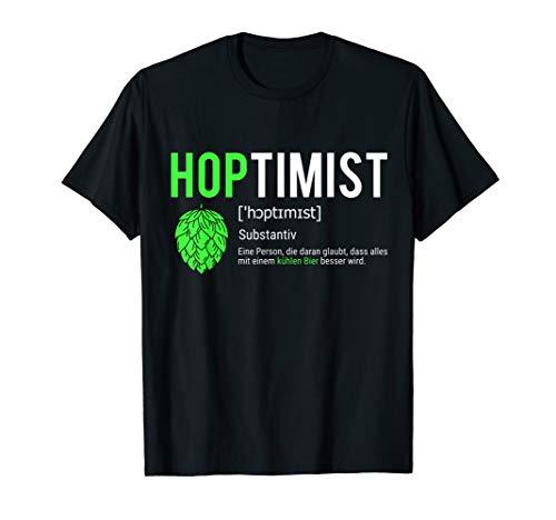 Bier-lustiges T-shirt (Hoptimist Lustiges Bierliebhaber Shirt Carft Beer)