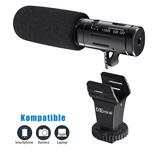 Emiral Smartphone Mikrofon/Kamera Mikrofon , Emiral Metall Video Mikrofon mit 3,5mm Klinkenstecker und Blitzschuheadapter, externes mikrofon für iPhone und Android-Geräte