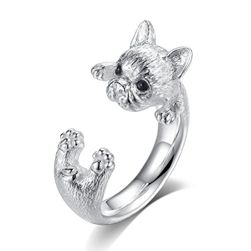 GemShadow Damen Ring 925 Sterling Silber Hund verstellbar (Silber Sterling Pfote Ring)