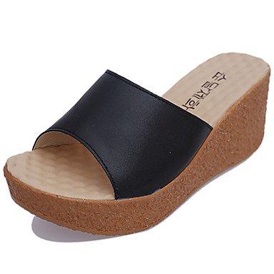 zhENfu donna pantofole & amp; flip-flops sandali Comfort PU Estate Casual Walking Split Cuneo Comune di tacco Nero Bianco Beige 3A-3 3/4in Black