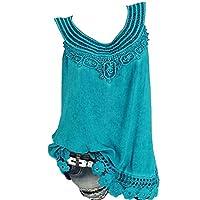 CRYYU Womens Plus Size Summer Lace Stitching Solid Sleeveless Tank Top Shirts 1 5XL
