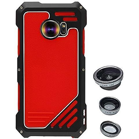Skitic Antiurto Custodia Cover per Samsung Galaxy S7, 3 in 1 Camera Lens Kit 180° (Foto Nero Doppio Mat)