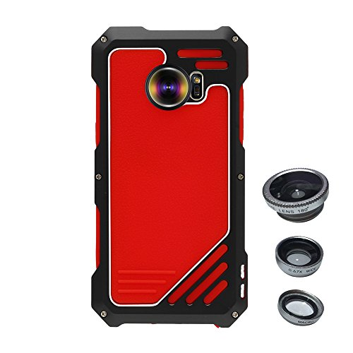 Skitic Antiurto Custodia Cover per Samsung Galaxy S7 Edge, 3 in 1 Camera Lens Kit (Foto Nero Doppio Mat)