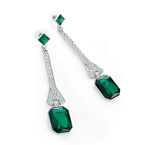 Rhodium Colour Crystal And Green Glass Bead Drop Earring - Amber Glass Drop