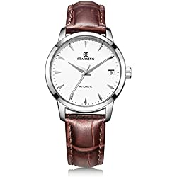 STARKING Men's AM0184SL91 Automatic Mechanical Watch with Brown Genuine Leather Strap