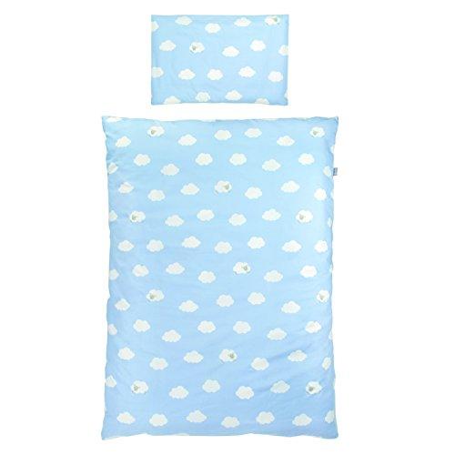 roba Bettwäsche 2-tlg, Kollektion 'Kleine Wolke blau', Kinderbettwäsche 100x135 cm, 100% Baumwolle, Decken-& Kissenbezug für Babys & Kinder