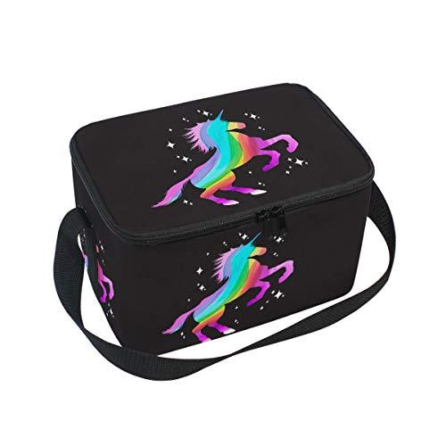 Bolsa de almuerzo con aislamiento de arcoíris de unicornio, color negro, reutilizable, duradera, portátil, térmica, para almuerzo, almuerzo, bolsa de refrigeración, organizador para mujeres, hombres, trabajo, escuela, oficina, al aire libre, picnic, barbacoa