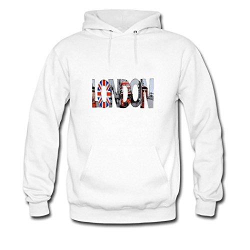 HGLee Printed DIY Custom London Women's Hoodie Hooded Sweatshirt White--2
